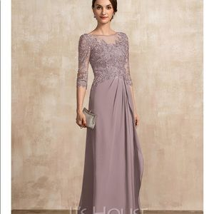 NWT JJ's House A-line Scoop Neck Chiffon Lace Gown
